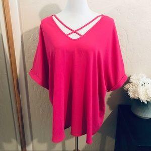 Sami & Jo 2x hot pink blouse